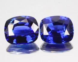 ~PAIR~ 4.17 Cts Natural Beautiful Blue Sapphire Cushion Cut Sri Lanka