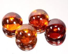 ~RAREST~ 36.55 Cts Natural Sphalerite Sunset Orange 11mm Cabochon 4Pcs Spai