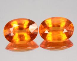 ~PAIR~ 6.02 Cts Natural Fanta Orange Spessartite Garnet Oval Cut Nigeria