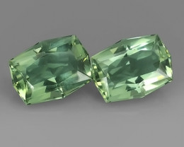 37.60~CTS  CUSHION SHAPE FANTASTIC NATURAL GREEN BOLIVIA AMETHYST 2 PCS~EXC