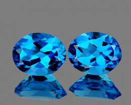 9x7 mm Oval 2 pcs 4.98cts Swiss Blue Topaz [VVS]