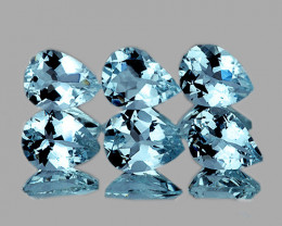 6x4 mm Pear 6pcs 2.10cts Blue Aquamarine [VVS]