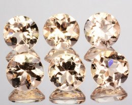 2.92 Cts Natural Peach Pink Morganite 5mm Round Cut 6Pcs Brazil