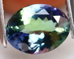 Tanzanite 1.43Ct Natural VVS Oval Vivid Purplish Green Blue Tanzanite A1607