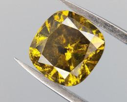 0.61 cushion cut diamond,GREEN color diamond ,Salt and pepper diamond