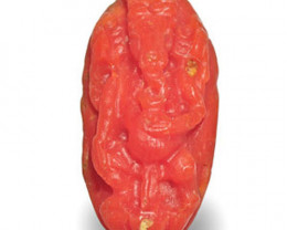 Japan Coral, 6.77 Carats, Orange Sculpture of Lord Ganesha