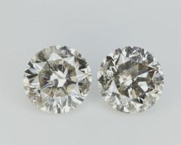 Pair Of Salt And Pepper Diamonds , Rare Natural Gemstones , 1.21 ctw