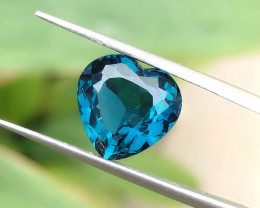 5.25 Ct Natural London Blue Topaz Heart Shape Flawless Gemstone