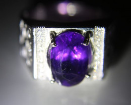 Amethyst 3.20ct White Gold Finish Solid 925 Sterling Silver Ring