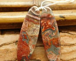 Crazy rosetta agate earring bead (G1879)