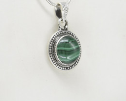 MALACHITE PENDANT 925 STERLING SILVER NATURAL GEMSTONE JP243