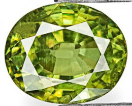 Namibia Demantoid Garnet, 0.71 Carats, Vivid Yellowish Green Oval