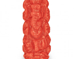 IGI Certified Italy Coral, 6.93 Carats, Orange Sculpture of Lord Ganesha