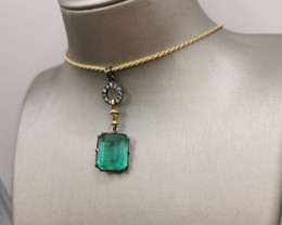 7,68ct Colombian Emerald 18k Solid Gold Necklace Colombian Natural Emerald