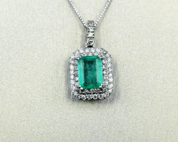 0,83ct Colombian Emerald 18k Solid Gold Necklace & Diamonds Colombian Natur