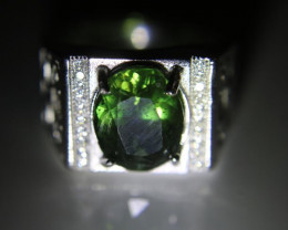 Green Apatite 4.10ct White Gold Finish Solid 925 Sterling Silver Ring