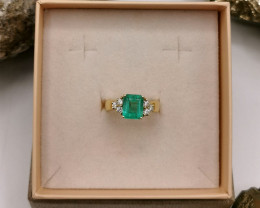 2,32ct Colombian Emerald 18k Solid Gold Ring with Diamonds 34/76