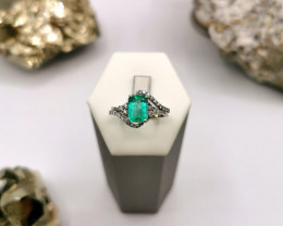 1,86ct Colombian Emerald 18k Solid Gold Ring with Diamonds ref. 40/76