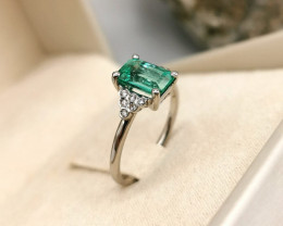 1,40ct Colombian Emerald 18k Solid Gold Ring with Diamonds 41/76