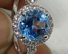 (LBA) Stunning $1200 Nat. 3.38 Blue Topaz W/Sapphires  Ring