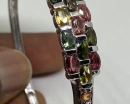 (10) Precious Nat 9.88tcw.  Tourmaline, Ruby&Sapphire Small Bangle