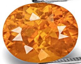 Tajikistan Clinohumite, 3.06 Carats, Fiery Golden Orange Oval