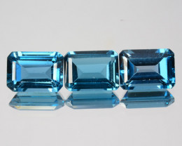 ~SET~ 3.90 Cts Natural London Blue Topaz 7x5mm Octagon 3Pcs Brazil