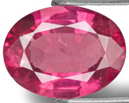 AIGS Certified Mozambique Rubellite Tourmaline, 3.92 Carats, Deep Pink Oval