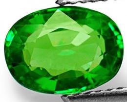 Kenya Tsavorite Garnet, 0.99 Carats, Parrot Green Oval