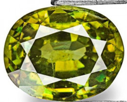 Namibia Demantoid Garnet, 0.90 Carats, Deep Yellow Green Oval