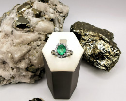 1,96ct Colombian Emerald 18k Solid Gold Ring with Diamonds Colombian emeral