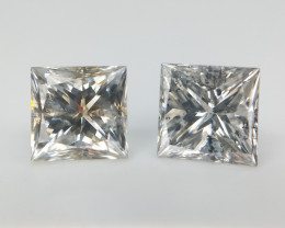 1.04 cts , Square Cut Diamond , Salt and Pepper Diamonds , Diamond Pair