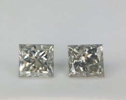 0.94 CTS  , Square Diamonds Pair , Rare Salt And Pepper Diamonds