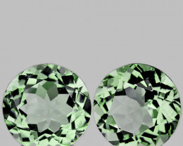 10.00 mm Round 2 pcs 7.33cts Green Prasiolite [VVS]