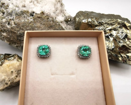 7,37ct Colombian Emerald 18k Solid Gold Earrings with Diamonds 17+18/76