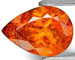 Tanzania Clinohumite, 2.87 Carats, Bright Neon Orange Pear