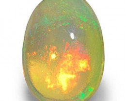 AIGS Certified Ethiopia Opal, 3.07 Carats, Orangy White Oval
