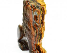 Genuine 1965.00 Cts Golden Tiger Eye Carved Lion