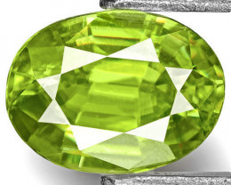 India Sphene, 0.42 Carats, Bright Neon Green Oval