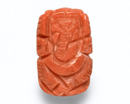 Italy Coral, 9.24 Carats, Orange Sculpture of Lord Ganesha
