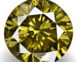 Australia Fancy Color Diamond, 0.74 Carats, Fancy Deep Greenish Brown Round