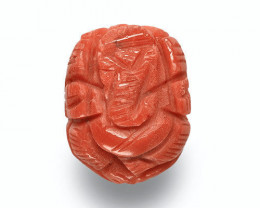 Italy Coral, 8.34 Carats, Orange Sculpture of Lord Ganesha