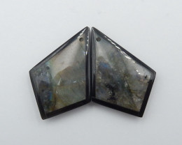 31.5cts Labradorite,Obsidian Intarsia Earring,Healing Stone G49