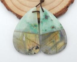 48cts Natural Chrysocolla,labradorite intarsia earrings,healing stone G51