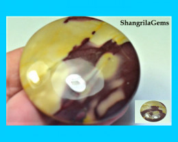 51mm Mooakite Jasper cabochon round large red yellow