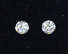 2.4mm D-F Brilliant Round VS Loose Diamond 2pcs / B