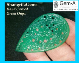 40mm Kundan Meena GREEN ONYX cabochon carved traditional design 40 by 2
