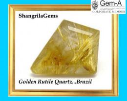 22mm GOLDEN RUTILATED or RUTILE QUARTZ 16.6ct