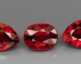 6.95 ct. Natural  Red Rhodolite Garnet Africa - 3 Pcs