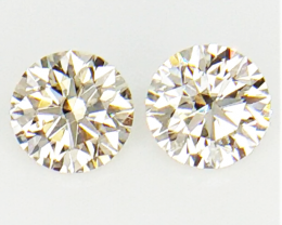 0.26 CT ,Pair Round Diamonds , Light Color Diamonds , WR1204